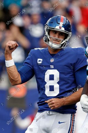New York Giants quarterback Daniel Jones (8) reacts against the Carolina Panthers during an NFL football game, in East Rutherford, N.J