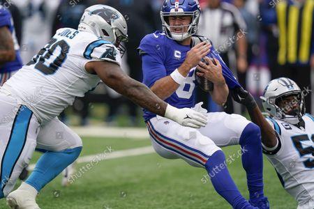 Stock Image of Carolina Panthers' Brian Burns (53) sacks New York Giants quarterback Daniel Jones (8) as DaQuan Jones (90) closes in during the second half of an NFL football game, in East Rutherford, N.J