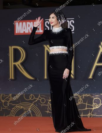 Acteress Gemma Chan poses on the red carpet for the movie 'Eternals' at the 16th edition of the Rome Film Fest in Rome