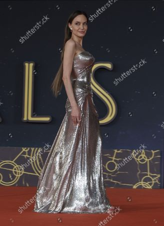 Actresses Angelina Jolie poses on the red carpet for the movie 'Eternals' at the 16th edition of the Rome Film Fest in Rome