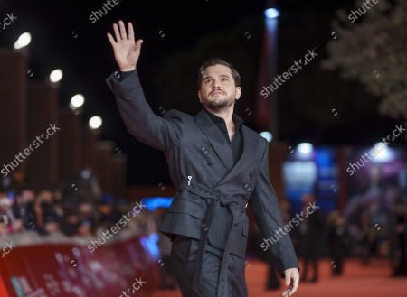 Actor Kit Harington poses on the red carpet for the movie 'Eternals' at the 16th edition of the Rome Film Fest in Rome
