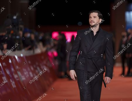 Actor Kit Harington arrives on the red carpet for the movie 'Eternals' at the 16th edition of the Rome Film Fest in Rome