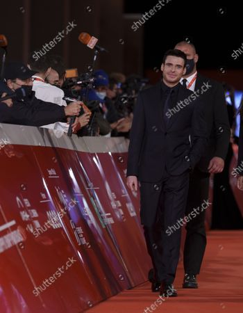 Actor Richard Madden arrives on the red carpet for the movie 'Eternals' at the 16th edition of the Rome Film Fest in Rome