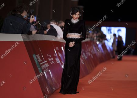 Actress Gemma Chan arrives on the red carpet for the movie 'Eternals' at the 16th edition of the Rome Film Fest in Rome