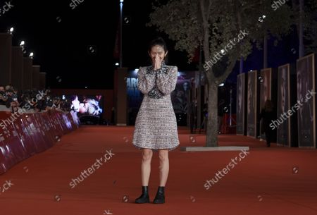 Director Chloé Zhao arrives on the red carpet for the movie 'Eternals' at the 16th edition of the Rome Film Fest in Rome