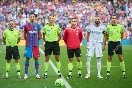 Sergio Busquets of FC Barcelona and Karim Benzema of Real Madrid during the Liga match; Nou Camp, Barcelona, Spain; La Liga football league, FC Barcelona versus Real Madrid.