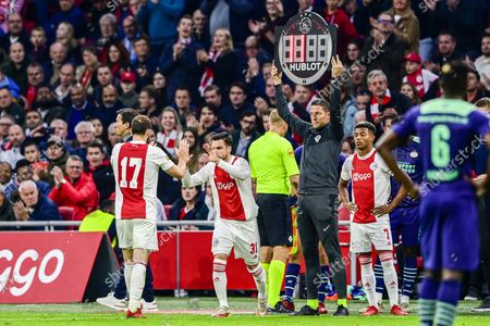 (lr) Daley Blind of Ajax, Nicolas Tagliafico or Ajax during the Dutch Eredivisie match between Ajax Amsterdam and PSV Eindhoven at the Johan Cruijff arena on October 24, 2021 in Amsterdam, Netherlands. ANP OLAF CRACK