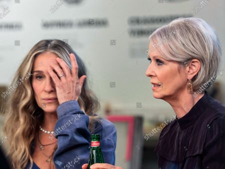 Sarah Jessica Parker and Cynthia Nixon are seen on the film set of the 'And Just Like That...' TV Series in New York City.