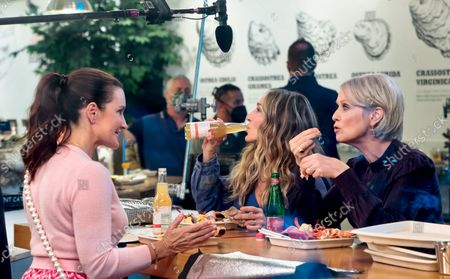 Kristin Davis, Sarah Jessica Parker and Cynthia Nixon are seen on the film set of the 'And Just Like That...' TV Series in New York City.
