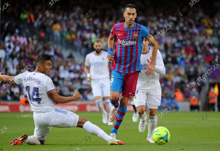 Sergio Busquets and Casemiro during the match between FC Barcelona and Real Madrid, corresponding to the week 10 of the Liga Santandere, played at the Camp Nou Stadium, on 24th October 2021, in Barcelona, Spain.  --