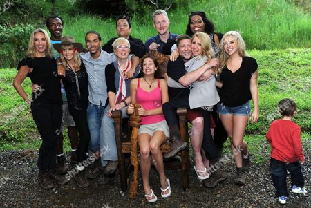 """Winner, Queen of the Jungle Stacey Solomon with all the celebs after being declared the Winner of the 2010 """"I'm a Celebrity... Get Me Out Of Here"""" in Australia - left to right - Sheryl Gascoigne, Gillian McKeith, Linford Christie, Britt Ekland, Aggro Santos, Jenny Eclair, Dom Joly, Lembit Opik, Shaun Ryder, Alison Hammond and Kayla Collins"""