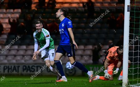 Goal celebrations for  Tom Knowles of Yeovil Town during the National League Match between Yeovil Town and Woking at Huish Park on 26 Oct, 2021 in Yeovil, England (Photo by Mat Mingo/PPAUK)