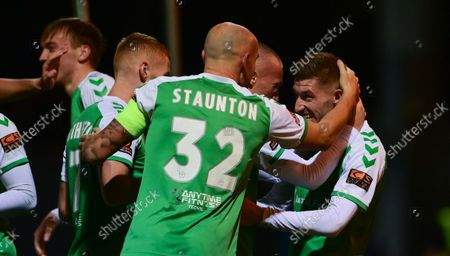 Goal celebrations for Tom Knowles of Yeovil Town as Josh Staunton, Captain of Yeovil Town congratulates himduring the National League Match between Yeovil Town and Woking at Huish Park on 26 Oct, 2021 in Yeovil, England (Photo by Mat Mingo/PPAUK)