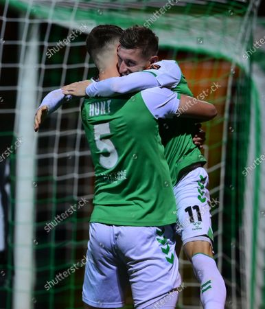 Goal celebrations for Tom Knowles of Yeovil Town with Max Hunt of Yeovil Town during the National League Match between Yeovil Town and Woking at Huish Park on 26 Oct, 2021 in Yeovil, England (Photo by Mat Mingo/PPAUK)