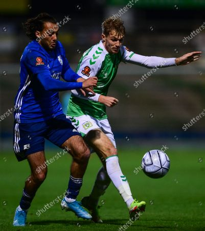 Charlie Wakefield of Yeovil Town battles for the ball with Tarryn Allarakhia of Woking during the National League Match between Yeovil Town and Woking at Huish Park on 26 Oct, 2021 in Yeovil, England (Photo by Mat Mingo/PPAUK)