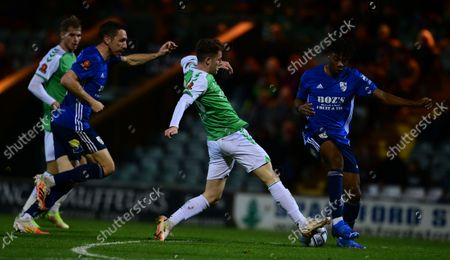 Ben Seymour of Yeovil Town wins the ball from Kane Thompson-Sommers of Woking during the National League Match between Yeovil Town and Woking at Huish Park on 26 Oct, 2021 in Yeovil, England (Photo by Mat Mingo/PPAUK)