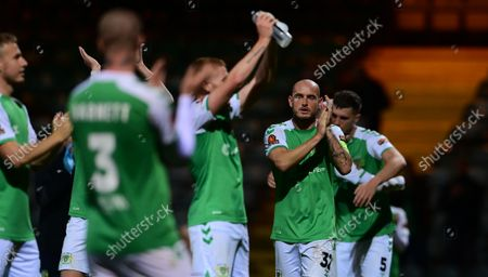 Final whistle celebrations from Josh Staunton, Captain of Yeovil Town after the National League Match between Yeovil Town and Woking at Huish Park on 26 Oct, 2021 in Yeovil, England (Photo by Mat Mingo/PPAUK)