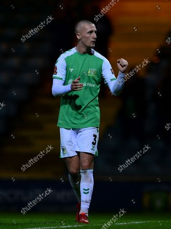 Final whistle celebrations from Jordan Barnett of Yeovil Town after the National League Match between Yeovil Town and Woking at Huish Park on 26 Oct, 2021 in Yeovil, England (Photo by Mat Mingo/PPAUK)