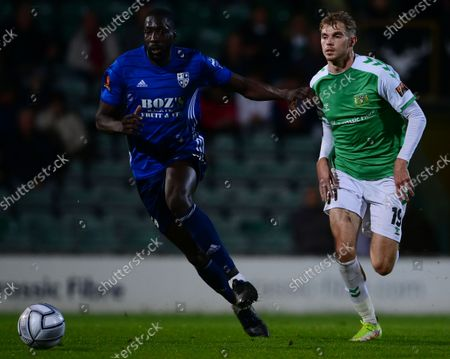 Moussa Diarra of Woking holds off  Charlie Wakefield of Yeovil Town during the National League Match between Yeovil Town and Woking at Huish Park on 26 Oct, 2021 in Yeovil, England (Photo by Mat Mingo/PPAUK)