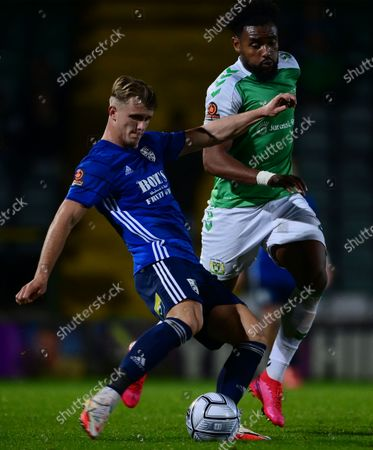 Adi Yussuf of Yeovil Town challenges for the ball with  Tommy Block of Woking during the National League Match between Yeovil Town and Woking at Huish Park on 26 Oct, 2021 in Yeovil, England (Photo by Mat Mingo/PPAUK)