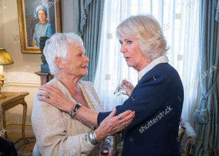 Camilla Duchess of Cornwall (right) speaks with Dame Judy Dench at a reception hosted by The Duchess of Cornwall for 'The Duchess of Cornwall's Reading Room', a hub for literary communities around the world, which celebrates literature in all its forms. Inspired by the success of Her Royal Highness's reading lists shared during the pandemic in 2020, the Reading Room channel offers new seasons of book recommendations, as well as exclusive insight from the authors themselves, in a community space for book lovers of all ages, abilities and backgrounds.