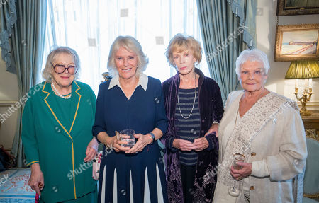 Stock Image of Camilla Duchess of Cornwall (second left) with Dame Antonia Fraser (left), Dame Edna Everage O'Brien (second right) and Dame Judy Dench, at a reception hosted by The Duchess of Cornwall for 'The Duchess of Cornwall's Reading Room', a hub for literary communities around the world, which celebrates literature in all its forms. Inspired by the success of Her Royal Highness's reading lists shared during the pandemic in 2020, the Reading Room channel offers new seasons of book recommendations, as well as exclusive insight from the authors themselves, in a community space for book lovers of all ages, abilities and backgrounds.