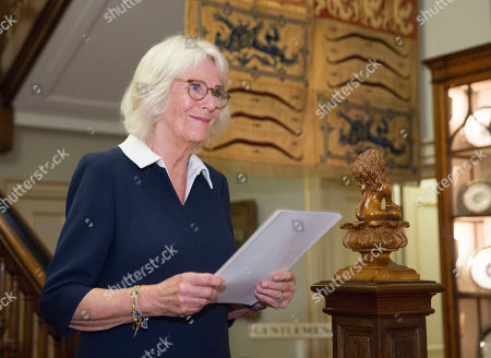Camilla Duchess of Cornwall speaks at a reception she hosted for 'The Duchess of Cornwall's Reading Room', a hub for literary communities around the world, which celebrates literature in all its forms. Inspired by the success of Her Royal Highness's reading lists shared during the pandemic in 2020, the Reading Room channel offers new seasons of book recommendations, as well as exclusive insight from the authors themselves, in a community space for book lovers of all ages, abilities and backgrounds.