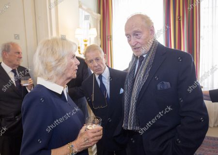 Camilla Duchess of Cornwall speaks with Edward Fox (centre) and Charles Dance (right) at a reception hosted by Camilla Duchess of Cornwall for 'The Duchess of Cornwall's Reading Room', a hub for literary communities around the world, which celebrates literature in all its forms. Inspired by the success of Her Royal Highness's reading lists shared during the pandemic in 2020, the Reading Room channel offers new seasons of book recommendations, as well as exclusive insight from the authors themselves, in a community space for book lovers of all ages, abilities and backgrounds.