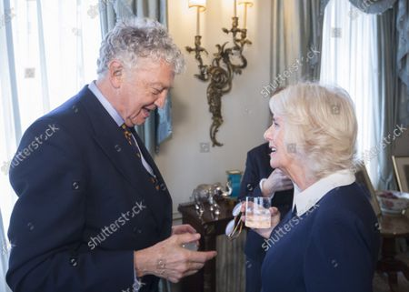 Camilla Duchess of Cornwall speaks with William Shawcross at a reception hosted by Camilla Duchess of Cornwall for 'The Duchess of Cornwall's Reading Room', a hub for literary communities around the world, which celebrates literature in all its forms. Inspired by the success of Her Royal Highness's reading lists shared during the pandemic in 2020, the Reading Room channel offers new seasons of book recommendations, as well as exclusive insight from the authors themselves, in a community space for book lovers of all ages, abilities and backgrounds.