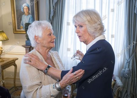 Stock Picture of Camilla Duchess of Cornwall (right) speaks with Dame Judy Dench at a reception hosted by Camilla Duchess of Cornwall for 'The Duchess of Cornwall's Reading Room', a hub for literary communities around the world, which celebrates literature in all its forms. Inspired by the success of Her Royal Highness's reading lists shared during the pandemic in 2020, the Reading Room channel offers new seasons of book recommendations, as well as exclusive insight from the authors themselves, in a community space for book lovers of all ages, abilities and backgrounds.