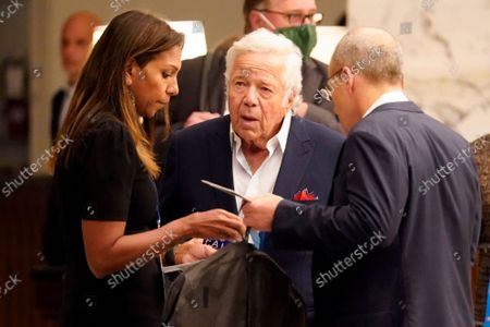 Robert Kraft, owner of the New England Patriots, arrives for an NFL football owners meeting in New York