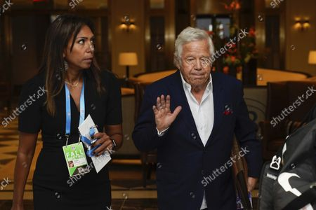 Stock Picture of Robert Kraft, owner of the New England Patriots, gestures as he arrives for an NFL football owners meeting in New York