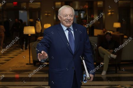 Jerry Jones, owner of the Dallas Cowboys, arrives for an NFL football owners meeting in New York