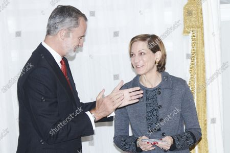 King Felipe VI, Anne Applebaum attends the 'Francisco Cerecedo' journalism awards at Mandarin Oriental Ritz Hotel on October 26, 2021 in Madrid, Spain