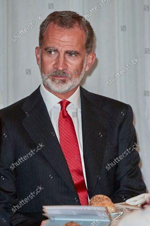 "Kings of Spain preside over the award ceremony of the ""Francisco Cerecedo"" Journalism Award, at the Mandarin Oriental Ritz Hotel in Madrid on October 26, 2021.  King Felipe VI"