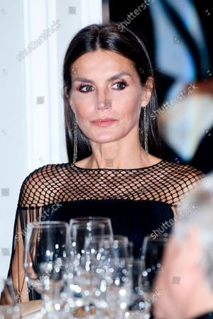 """Kings of Spain preside over the award ceremony of the """"Francisco Cerecedo"""" Journalism Award, at the Mandarin Oriental Ritz Hotel in Madrid on October 26, 2021.  Queen Letizia"""