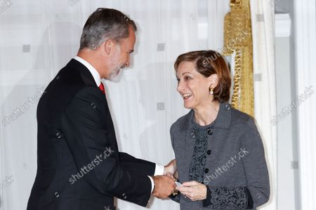 """Editorial photo of Kings of Spain preside over the award ceremony of the """"Francisco Cerecedo"""" Journalism Award, Madrid, Spain - 26 Oct 2021"""