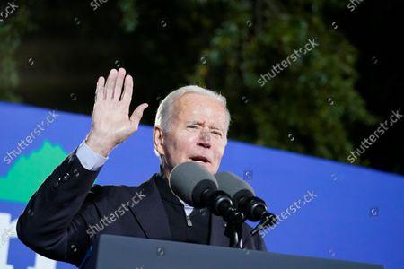 President Joe Biden speaks at a rally for Democratic gubernatorial candidate, former Virginia Gov. Terry McAuliffe, in Arlington, Va. McAuliffe will face Republican Glenn Youngkin in the November election