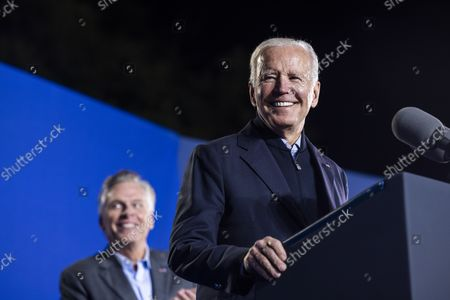 United States President Joe Biden campaigns for Virginia Democratic gubernatorial candidate Terry McAuliffe in Arlington, Virginia, USA, 26. McAuliffe is running against Republican Glenn Youngkin; the election takes place on 02 November 2021.