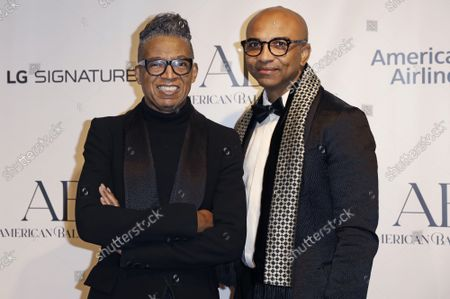 B. Michael, left and Mark-Anthony Edwards arrive on the red carpet at American Ballet Theatre's Fall Gala at the David H. Koch Theater on Tuesday, October 26, 2021 in New York City.       .