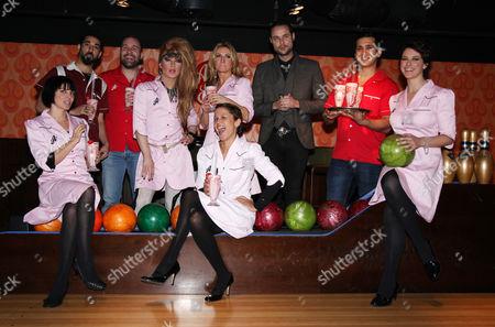 Ray Panthaki, Sadie Frost, Lisa Moorish, Johnny Harris, Jodie Harsh, Meg Mathews, Jeff Leach, Jimi Mistry and Belinda Stewart-Wilson (L to R)
