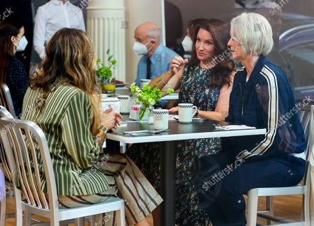 Sarah Jessica Parker, Kristin Davis and Cynthia Nixon are seen on the film set of the 'And Just Like That...' TV Series