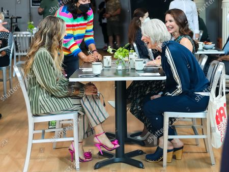 Stock Image of Sarah Jessica Parker, Kristin Davis and Cynthia Nixon are seen on the film set of the 'And Just Like That...' TV Series