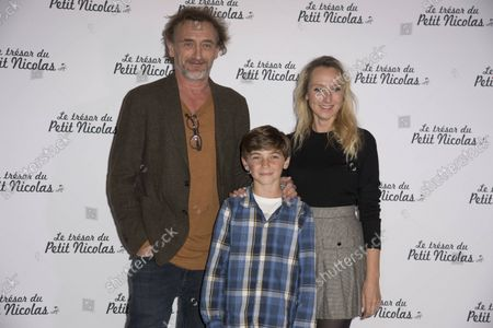 Audrey Lamy Jean Paul Rouvre and Ilan Debrabant at the premiere of the film The Treasure of Little Nicolas at the cinema Le Grand Rex in Paris, France on October 3, 2021