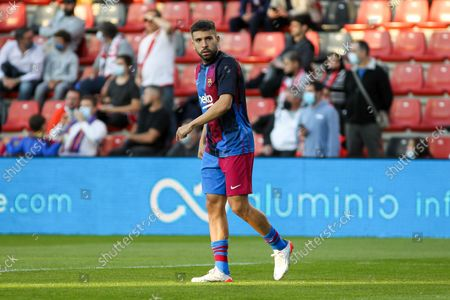 Stock Image of Jordi Alba of FC Barcelona warms up during La Liga football match played between Rayo Vallecano and FC Barcelona at Vallecas stadium on October 27th, 2021 in Madrid, Spain.