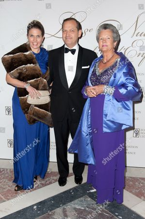 Stock Photo of Princess Adelaide d'Orleans and her husband Pierre-Louis Dailly with Anne-Aymone Giscard d'Estaing