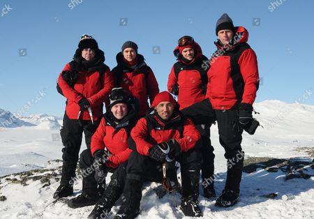 [Ltr] Top Row  Shane Richie, Marcus Patrick, Joe Absolom and Andrew Castle.  [Ltr] Front Row   Diarmuid Gavin and Gavin Henson.