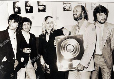 Chris Wright with Blondie - Frank Infante, Nigel Harrison and Deborah Harry