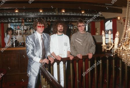 Stock Photo of Barclay James Harvest - John Lees, Les Holroyd and Mel Pritchard, London, Polydor Records Boat Trip, London, Britain