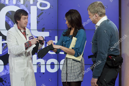 Stuart McFeat with Adrian Chiles and Christine Bleakley